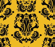 Badger Damask on Gold 5inch fabric by jammy_fox on Spoonflower - custom fabric