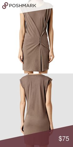 Allsaints Mairei khaki dress M This is lovely allsaints Mairei dress.  Build your weekend wardrobe with this versatile dress by AllSaints.  It can be worn in two ways, use the metal push studs to create an hourglass shape or leave open for a relaxed tee silhouette.  Crafted from pure cotton, the fabric creates a flexible fall and drape and rolled up sleeves completes this piece. Pair with a leather biker and canvas pumps for off-duty effortless styling. All Saints Dresses Midi