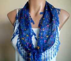 Blue Scarf Flowered Cotton Scarf Lightweight by fizzaccessory, $14.00