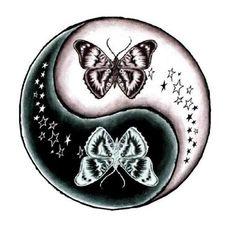 Tatuaggio farfalla yin yang
