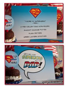 It's Written on the Wall: {Free Printables} Super Dad Father's Day Collection-Day 2 (Superhero breakfast menu - love it!!)