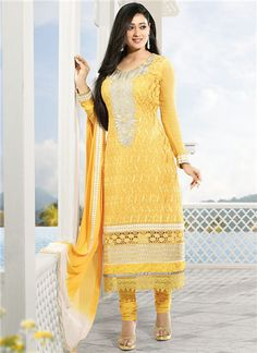 Stunning yellow Georgette churidar salwar kameez.