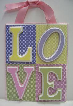 L O V E Pastel Polka Dot Plaque  or 4 Letter Name by RibbonMade, $50.00