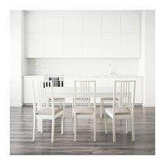 BJURSTA / BÖRJE Table and 6 chairs, white, Kungsvik sand