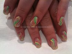 Pink tulle with green/yellow nail art