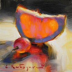 """Daily Paintworks - """"Grapefruit and Grape"""" - Original Fine Art for Sale - © Elena Katsyura"""