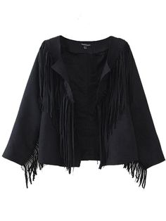 Sale 29% (32.19$) - Vintage Women Faux Suede Leather Fringe Jacket