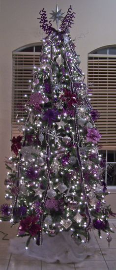 Purple And Silver Christmas Decorations are certainly one inseparable the main Christmas holidays, without which Christmas would lose its color, spiri. Purple Christmas Decorations, Silver Christmas Tree, Beautiful Christmas Trees, Noel Christmas, Holiday Tree, Winter Christmas, Christmas Lights, Xmas Trees, Christmas Photos