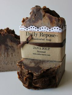 JAVA JOLT COFFEE Handmade Soap Bar Natural Vegan Cold Process Soaps fall Using hands and negative space to creative handmade . Soap Labels, Soap Packaging, Coffee Soap, Coffee Bath, Savon Soap, Soap Display, Soap Shop, Cold Process Soap, Soap Recipes