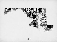 "State Art - ""Maryland Word Cloud II"" wall art by Naxart Studio available at Great BIG Canvas. Canvas Size, Canvas Art, Canvas Prints, Big Canvas, Word Cloud Art, Word Clouds, Word Map, Map Art, Hand Painting Art"