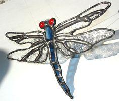Cobalt blue stained glass dragonfly suncatcher,