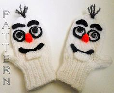 Knitting Pattern - Snowman Mittens, animal mittens, character mittens, gloves