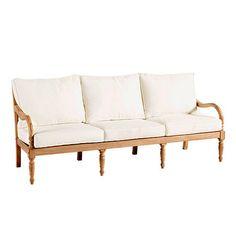 """Ceylon Teak Sofa - Ballard  Designs - 34 3/4""""H (to cushion) X 79 1/8""""W X 29""""D"""