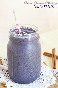 Maple Cinnamon Blueberry Smoothie - an easy smoothie recipe that is a healthy breakfast or snack with flavors that remind you of a stack of French toast. @lovemysilk #SilkSmoothie #ad | cupcakesandkalechips.com | gluten free, dairy free, vegan