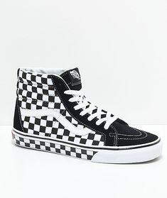 d6f1abdeb7fa55 Vans Sk8-Hi Checkered Black   True White Skate Shoes 64.95  Vans Skate Shoes