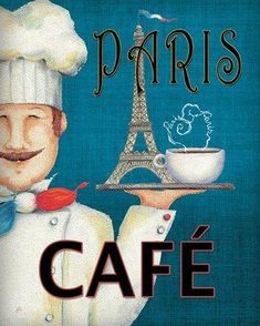 Paris Café Eiffel tower and all. It's a nice poster.