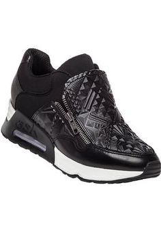 Ash - Lennox Tribal Embossed Sneaker Black Leather