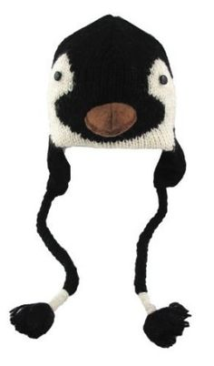 DeLux Baby Penguin Face Wool Pilot Animal Cap/Hat with Ear Flaps and Poms