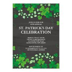 "Chalkboard Shamrock St. Patrick's Party Invitation 5"" X 7"" Invitation Card"