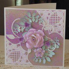 handmade rose, anja corners Diy Cards Making, Card Making Designs, Pretty Cards, Cute Cards, Handmade Birthday Cards, Greeting Cards Handmade, Marianne Design Cards, Paper Cards, Flower Cards