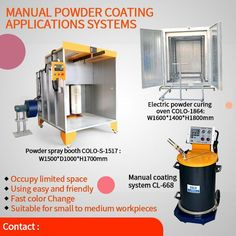 COLO manual powder coating equipment include powder coating booth, powder curing ovens and powder spray guns, good option for DIY coating wheels or other small to medium sized workpieces. Powder Coating Machine, Powder Coating System, Powder Coat Paint, Color Powder, Spray Paint Booth, Powder Coating Equipment, Space Systems, Rims For Cars, Walk In