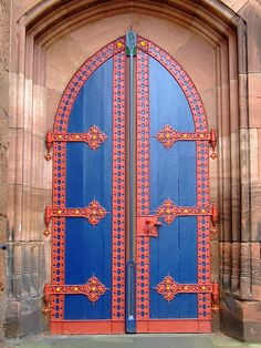 Marburg, Germany - These church doors are so meticulously painted and the blue doors make the red hardware snap you to attention.  An inviting welcome appears to await.