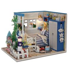 Hoomeda M025 DIY Dollhouse Miniature The Starry Night The Starry Sea For Decoration Toy Gift For Children Adult#sea