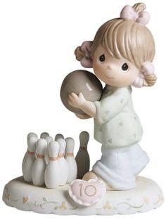 Precious Moments Brunette Girl Bowling Age 10 Figurine - http://www.preciousmomentsfigurines.org/birthday/precious-moments-brunette-girl-bowling-age-10-figurine/