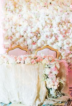 Brides: Flower Wall with White Hydrangeas and Pink Roses. Turn your sweetheart table into a showstopper with a verdant flower wall filled with cream-colored hydrangeas and soft-pink roses. Created by Pink, the Little Flower Shop. Flower Wall Backdrop, Wall Backdrops, Flower Wall Wedding, Wedding Flowers, Wedding Reception Decorations, Wedding Centerpieces, Wedding Backdrops, Wedding Receptions, Hydrangea Colors