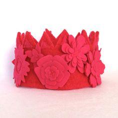 Pink Monochromatic Felt Flower Girl Crown