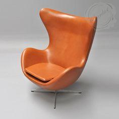 Arne Jacobsen Egg Chair in Cameo Nevada Cognac Leather   Stardust Modern Design