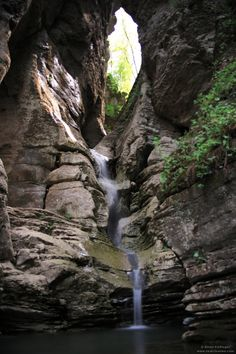 """Eye of the Needle"" rock formation and waterfall on Indian Creek Hiking Trail, Arkansas. Absolutely beautiful area to hike and the trail is part of the Buffalo National River Area in the Ozark Mountains. Photo: Brian Emfinger"