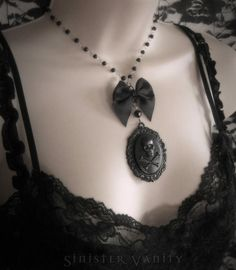 Gothic Lolita Necklace Skull Victorian Black Crossbones Cameo with Bow & Rosary Beaded Chain Necklace.