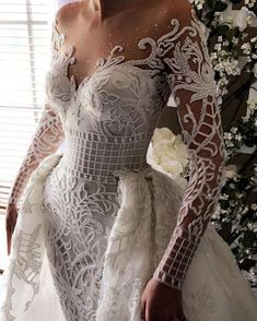 Long Sleeved Wedding Dresses: 20 Perfect Gowns for Brides! - weddingtopia Long Sleeved Wedding Dresses: 20 Perfect Gowns for Brides! Dream Wedding Dresses, Bridal Dresses, Wedding Gowns, Wedding Dress Styles, Lace Wedding, Dresses Dresses, Crochet Wedding, Wedding Art, Mermaid Wedding