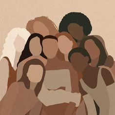 Diverse Women Portrait Different skin tones female | Etsy Black Girl Art, Black Women Art, Art Girl, Aesthetic Painting, Aesthetic Art, Aesthetic Outfit, Korean Aesthetic, Aesthetic Drawing, Aesthetic Clothes