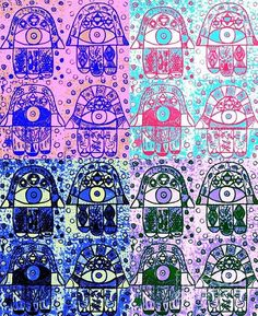 Sandra Silberzweig - Blue & Blue Hamsa - Original Art Print (copyright)   For additional print sizes, commission work, or purchase of my Original Artwork, please feel free to email me at isandra@primus.ca   If you are interested in viewing more of my artwork, I will gladly email you additional links.   I look forward to your inquires.   ALL MY ARTWORK IS COPYRIGHTED