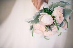 Blush peony & garden rose bridal bouquet by San Diego wedding florist, Compass Floral.