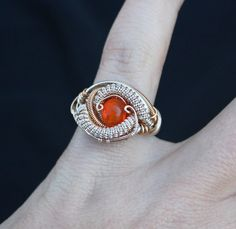 Fire Opal ring // wire wrapped ring// heady wrap size 4.5// handmade boho stone jewelry