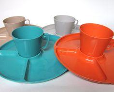 Steri-Lite Melamine Dinnerware Set with Divided Plates \u0026 Cups Sterilite Turquoise Orange Gray and Tan & Vintage 1950s Mismatched Turquoise Melamine Dinnerware Set ...