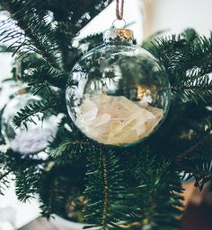 "The simplest DIY ever done, so simple it may not even earn the title ""DIY"" but here it goes.. Supplies: Empty Holiday Ball Ornaments (definitely get plastic, no"
