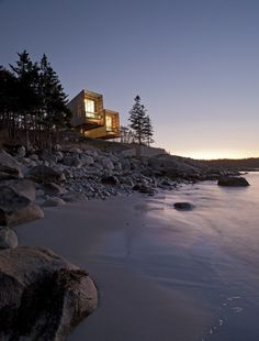 Minimalist Architecture amidst a Coastal Landscape The Two Hulls House in Nova Scotia, Canada is designed by MacKay-Lyons Sweetapple Architects. More images of the house on WE AND THE. New Architecture, Minimalist Architecture, Architecture Interiors, Interior Exterior, Exterior Design, Diy Interior, Life Is Beautiful, Beautiful Places, Beautiful Homes