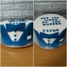Royal blue and white round suit cake Confirmation Cakes, Royal Blue, Cake Decorating, Birthday Cake, Blue And White, Suit, Desserts, Kids, Food