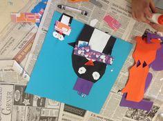 Penguin collage in progress