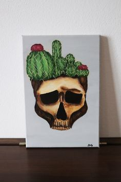 Cactus skull painting on canvas 30x20cm ©Billy Cactus Painting, Skull Painting, Plant Painting, Acrylic Painting Canvas, Original Artwork, Craft Supplies, Things To Come, The Originals, Artist
