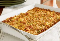 Campbell's Squash Casserole Recipe.  Like this version, but without the carrots and zucchini...just add more squash and top with Ritz crackers instead of herb stuffing