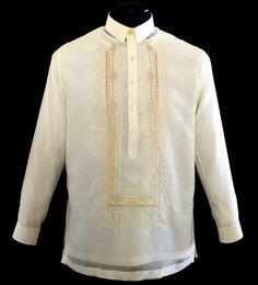 Jusilyn Boy's Barong Tagalog - Barongs R us Modern Filipiniana Dress, Barong Tagalog, Philippines Fashion, First Communion Dresses, Line Shopping, Formal Looks, Tuxedo, Suits, Stylish