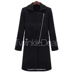 Chic Black Turn-Down Collar Long Sleeve Loose Thick Coat For Women