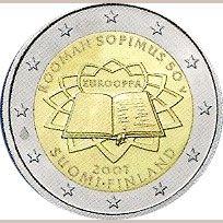 moneda Finlandia 2 euros 2007 Tratado de Roma, Tienda Numismatica y Filatelia Lopez, compra venta de monedas oro y plata, sellos españa, accesorios Leuchtturm