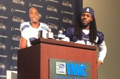 Richard Sherman and  Doug Baldwin  of the  Seattle Seahawks  put on a show for reporters Tuesday afternoon wherein the two men blasted the  NFL  for institutional hypocrisy and pumped up their sponsors...