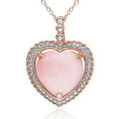12.0mm Heart-Shaped Pink Opal and Diamond Accent Heart Pendant in Rose Rhodium Plated Sterling Silver - Zales